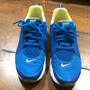 Nike women's blue and neon green shoes